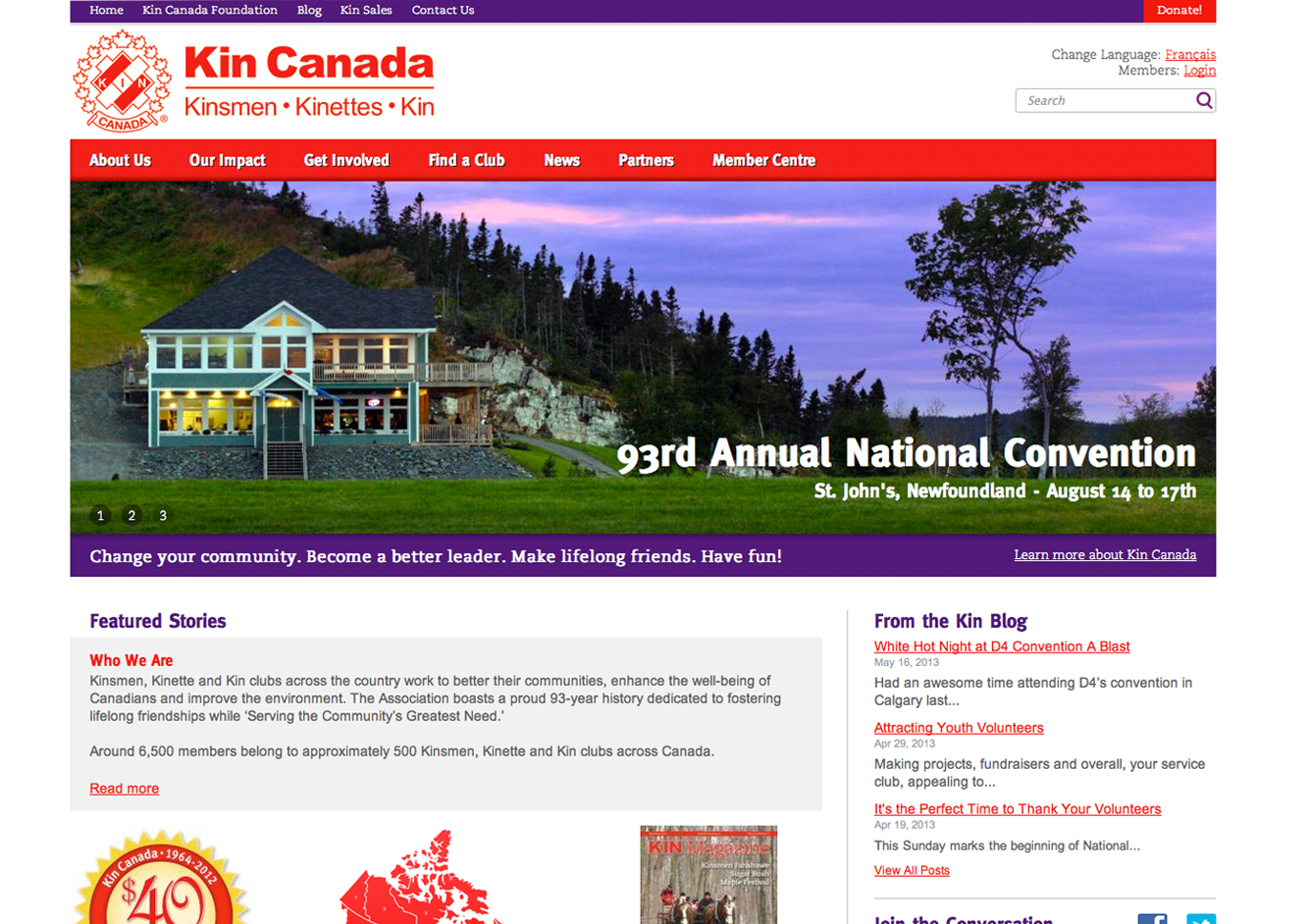 Kin Canada Website Screen 1