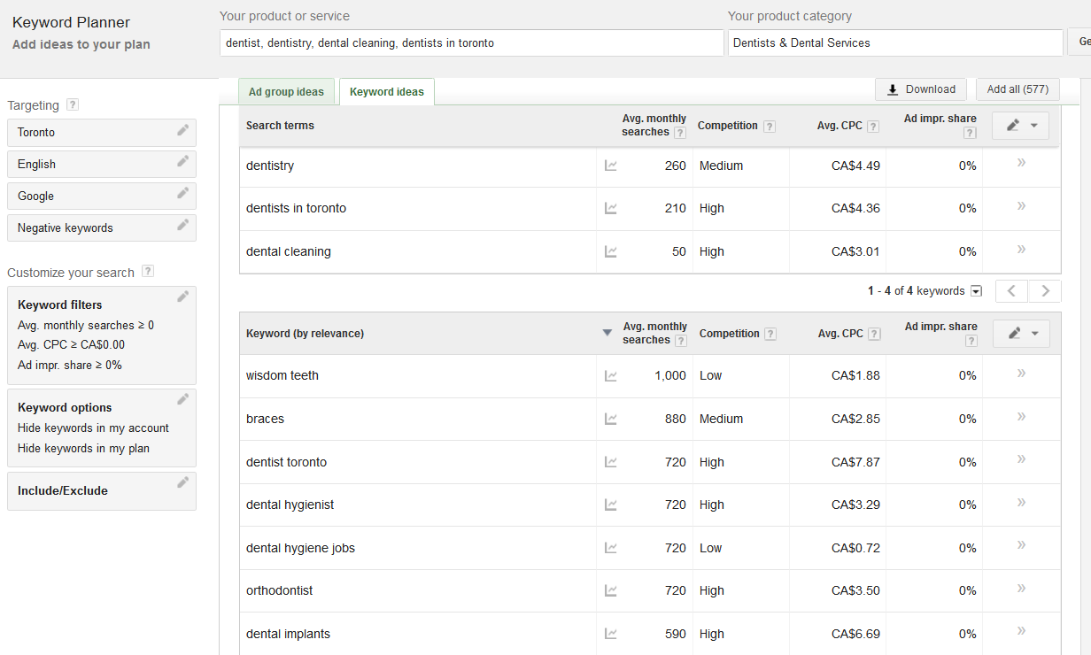 Adwords Keyword Planner Example